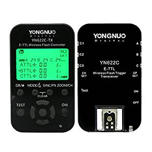 YONGNUO YN622C-KIT Wireless HSS E-TTL Flash Trigger Kit with LED Screen for Canon including 1X YN622C-TX Controller and 1X YN622 C Transceiver