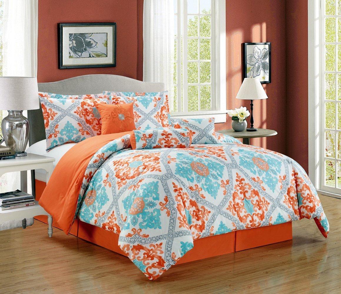 Get Quotations Grand Linen 7 Piece Oversize Fine Printed Designer Comforter Set Queen Bedding Incl Matching Pillows