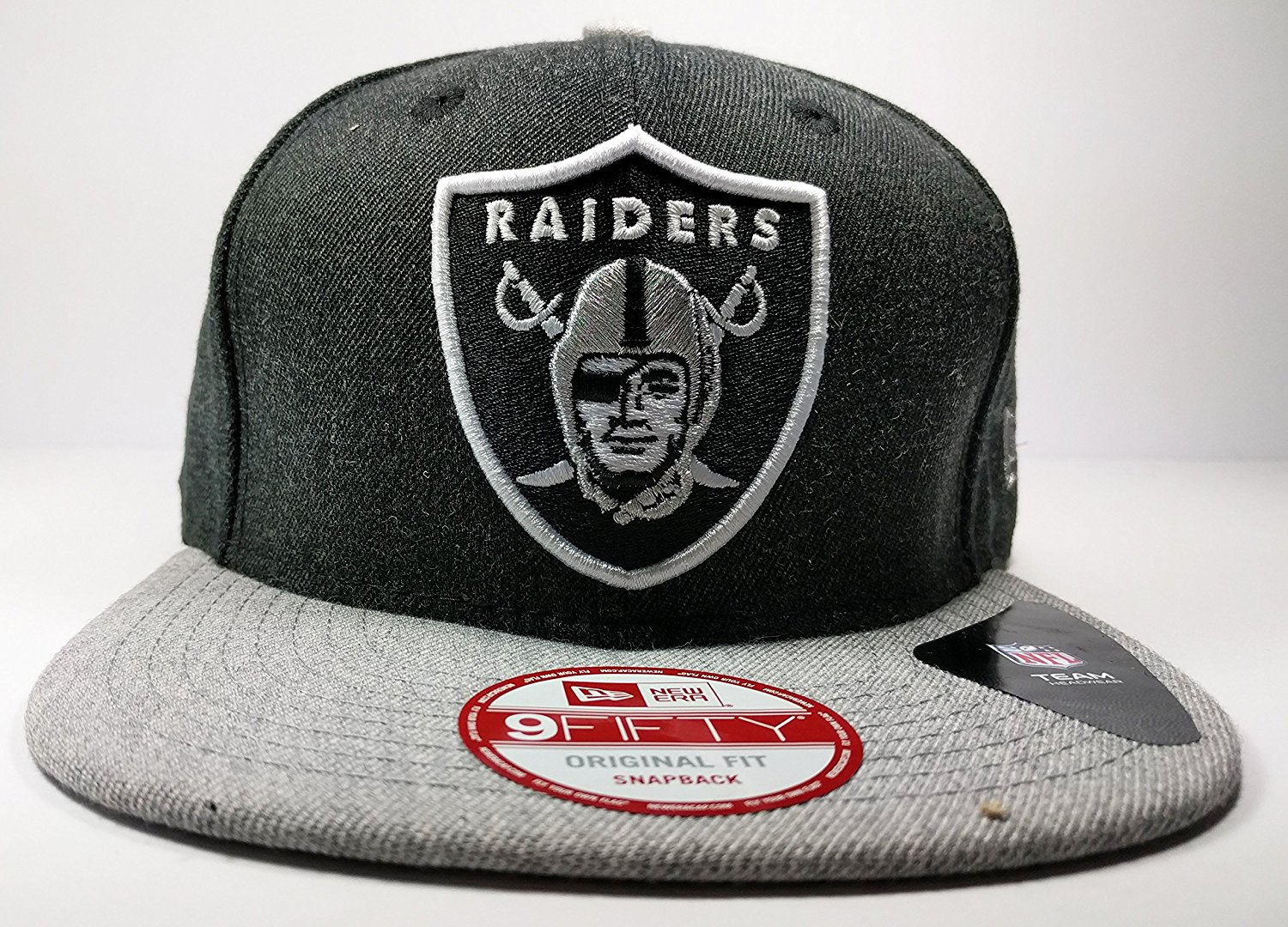 b004dace2f5841 ... Adjustable plastic snap strap Imported Officially licensed Raider...  Get Quotations · Oakland Raiders New Era Speed Up Snapback Cap Hat Grey  Black