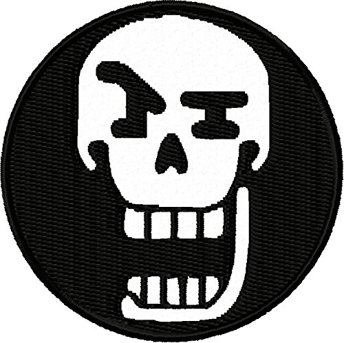 """Undertale Papyrus Face Embroidered Iron On Applique Patch - White, Black, 2.5"""" Round - MADE IN THE USA - Gift wrap available!"""
