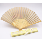 Bamboo and Fabric Personalized Folding Hand Fan for Traditional Wedding Favor
