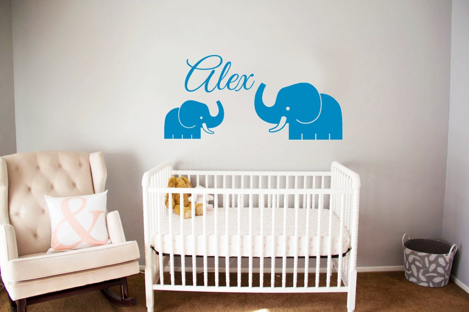Ditooms Elephant Baby Room Wall Decal Personalized Name Nursery Decor Vinyl Sticker Custom In