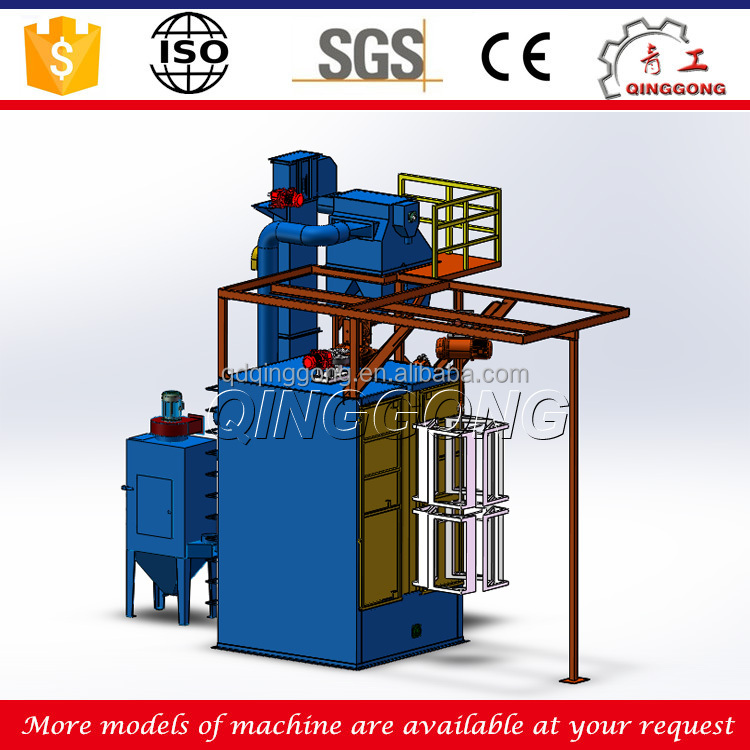 Spinner Hanging Bicycle Frame Surface Derusting Monorail Type Shot Blasting Machine