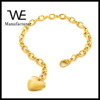 Fashion Women's Stainless Steel 14K Gold Polished Heart Charm Love Bracelet With Chain Jewelry For Gift