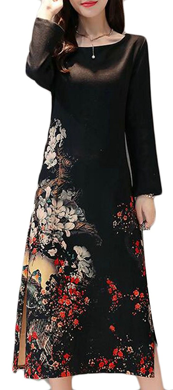 CBTLVSN Women Chinese Style Round Neck Floral Print Cheongsam Dress