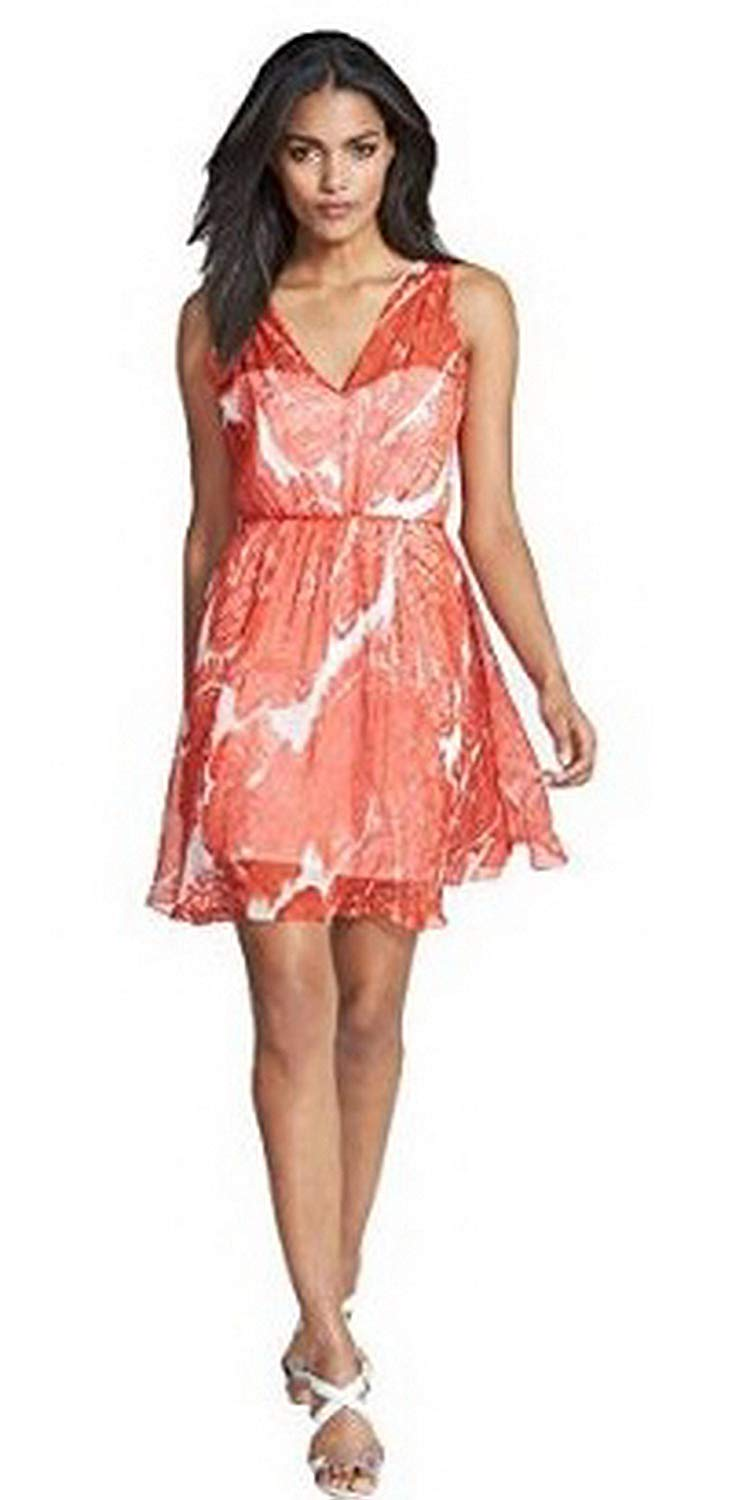 Get Quotations · MILLY ANNA Womens Silk Watercolor Paisley Print Dress Sz 8  Poppy Red190422-F 0d32d30b48