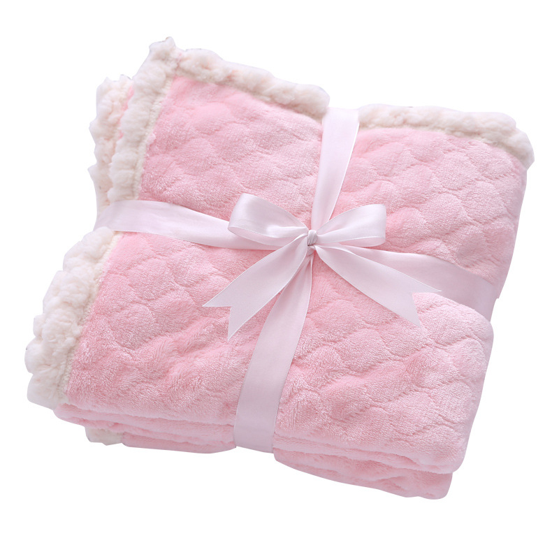 Customized super soft double layers newborn baby wrap throw blanket thick fleece flannel baby blanket