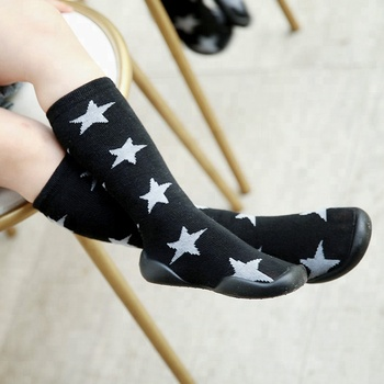5d804a5fbea COSOCK Cute Star Knee High Top Rubber Bottom Soft Fashion Young Girl And Young  Boy Shoes