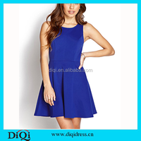 Women's Clothing Wholesale Fashion New York Style Lady Frock Blue Elegant Dresses for Women Summer 2015