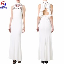 High Quality New Arrival ladies elegant white sleeveless embroidered evening dressing gown