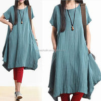 Ladies Refreshing Linen Cotton Woman Dresses For Summer Travelling Dress Up