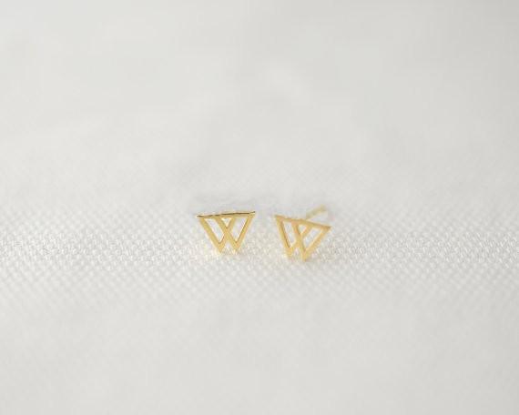 Fashion superposition triangle stud earrings, geometric peaks stud earrings  wholesale free shipping - us545 6af9330072