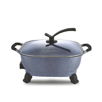 non stick die-cast aluminum electric multi cooking gril hot pot with thermostat control