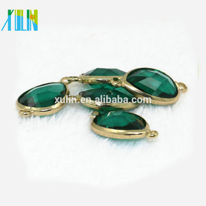 K9 Glass Emerald Gemstone Beads, wholesale price for 13*18mm water drop shape crystal connector CA004