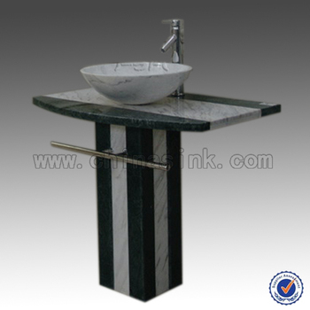 Carrara Marble And India Green Pedestal Sink, Round Vessel Sink + Vanity  Top + Square