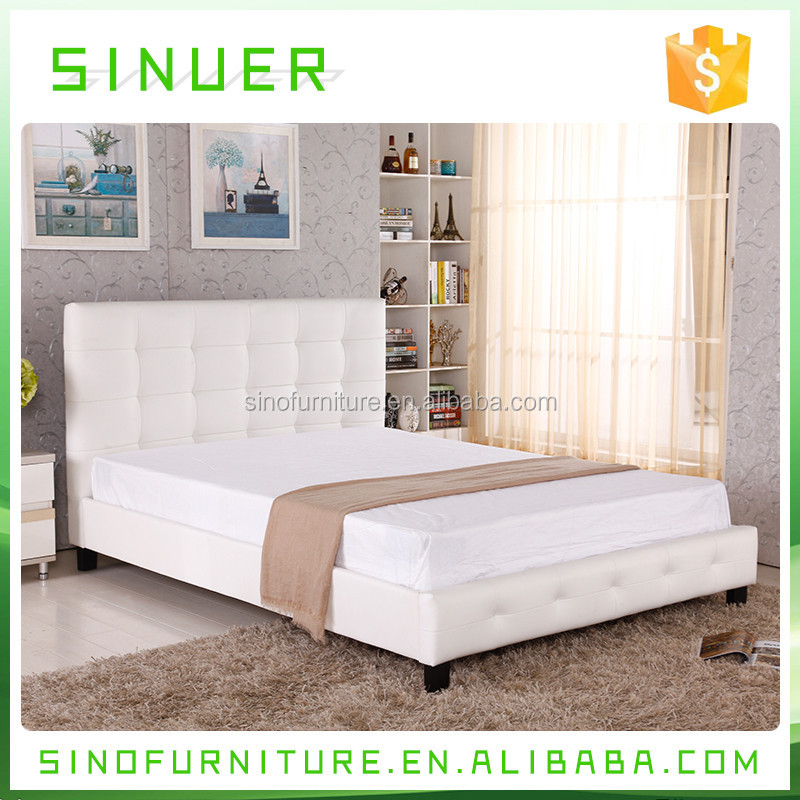 Luxury upholstered sturdy leather double bed with diamond