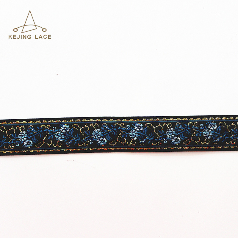 Flower Design Polyester Jacquard Ribbon Trim