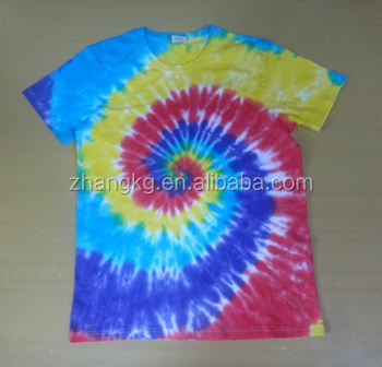 Fancy short sleeve mens round neck tie dye t shirt,men t shirt with tie dye