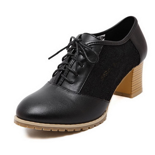 02b07ed496b Get Quotations · Fashion Women High Heel Shoes Solid Round Toe Womens  Oxford Pumps Shoes Lace-Up Ladies
