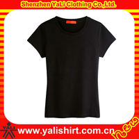 Custom best quality comfort cheap black o-neck short sleeve 100%cotton women slim fit t shirts bulk