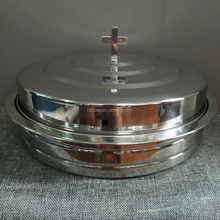 Stackable Communion Tray with Cover - Stainless Steel Silver Finish