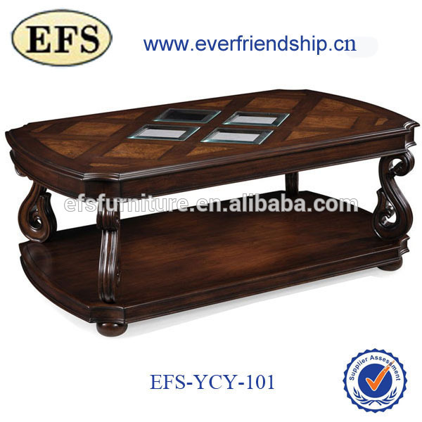Popular glass top cheap modern moroccan wood coffee table center table for sale