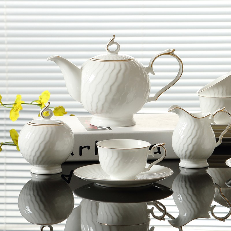 15pcs Glod Line Hand Painted Fine Bone China Coffee Sets