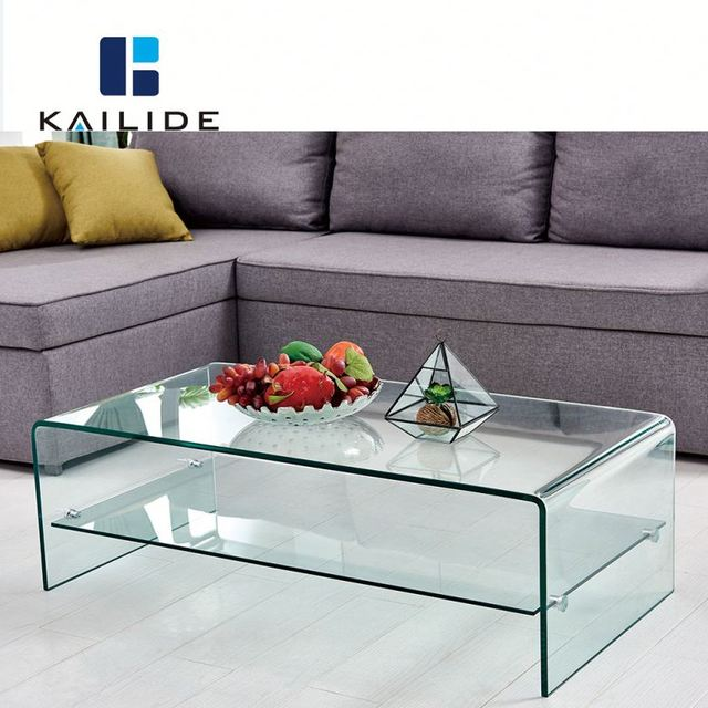 Living Room Furniture High Quality Custom Size Bent Glass Coffee Table