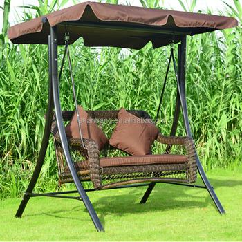 Outdoor Patio Balcony Plastic Synthetic Rattan Resin Wicker Two Seat Double Garden Swing Chair With Canopy