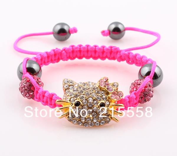 ff0ce13ae Get Quotations · Children Hello Kitty Shamballa Bracelet Kids Child Girl  Boys Crystal Disco Ball Small Cat Bracelet 1PC