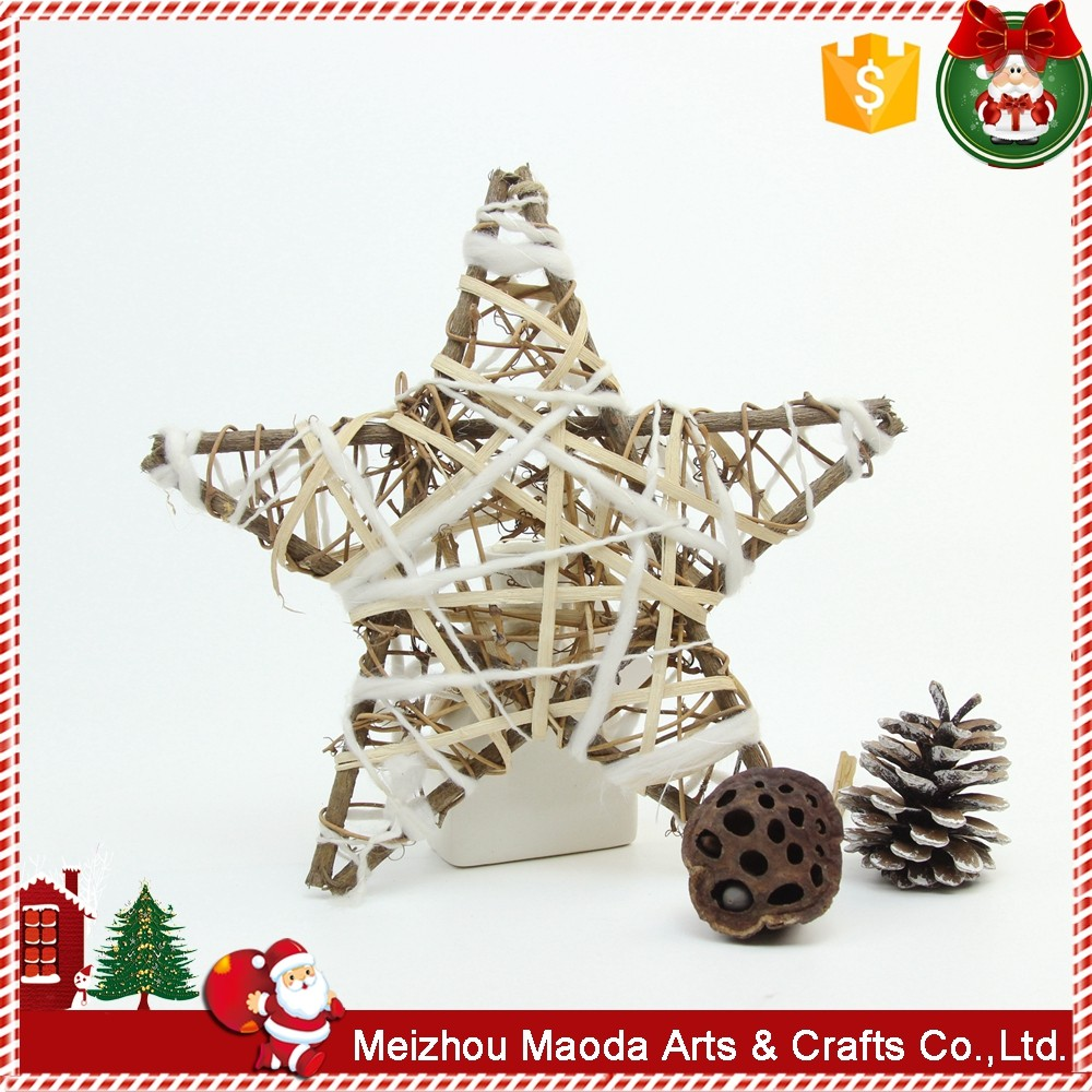 Handmade Wooden Rattan Winding Sliver Christmas Outdoor