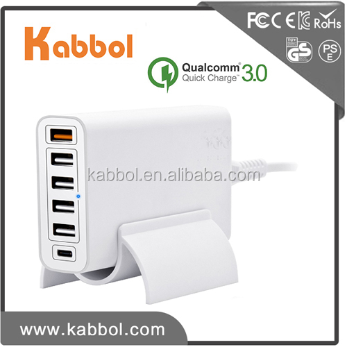 Mobile Phone Charger Qualcomm Quick Charge 3.0 60W 6 Port USB Charger 5V 3A Type-C Charger for mobile phone and tablet