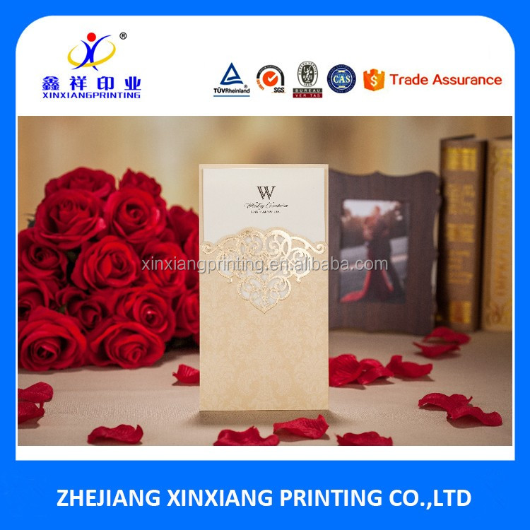 Fold Wedding Invitation Card With Envelope Pocket Folded Paper Cards
