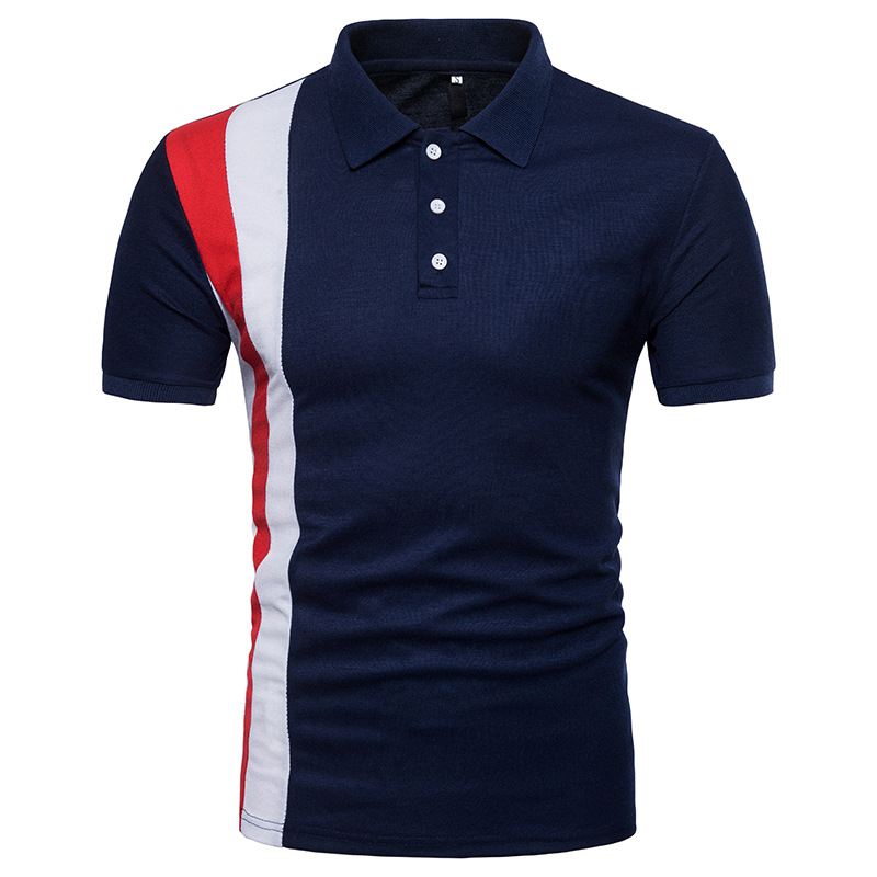 100%cotton men's high quality pique slim fit color block polo shirt