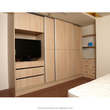 Modern bedroom plywood wooden almirah wardrobe sliding for Room wooden almirah designs