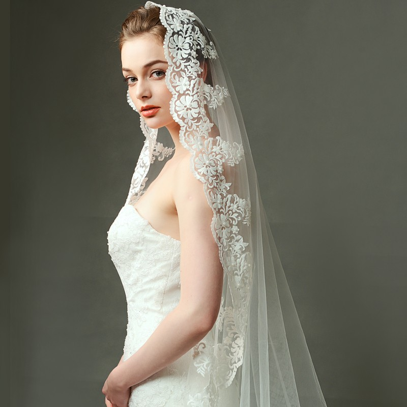 V1248W1-1 Elegant wedding bridal veil