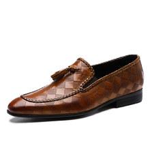 Мужские деловые кожаные туфли, Черные слипоны из натуральной воловьей кожи, свадебные туфли с кисточками, 2020(China)