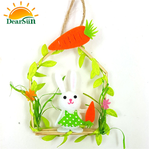 Lovely polyester and wood easter rabbit door decoration bunny
