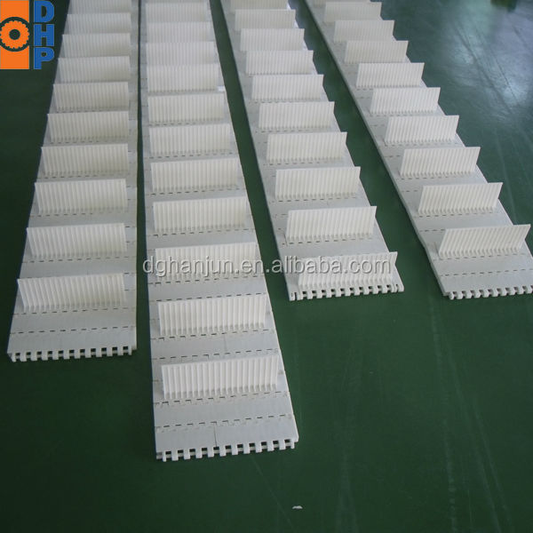 H9709 Food Grade production line Modular Conveyor belt/Finger Transfer Plates with baffle
