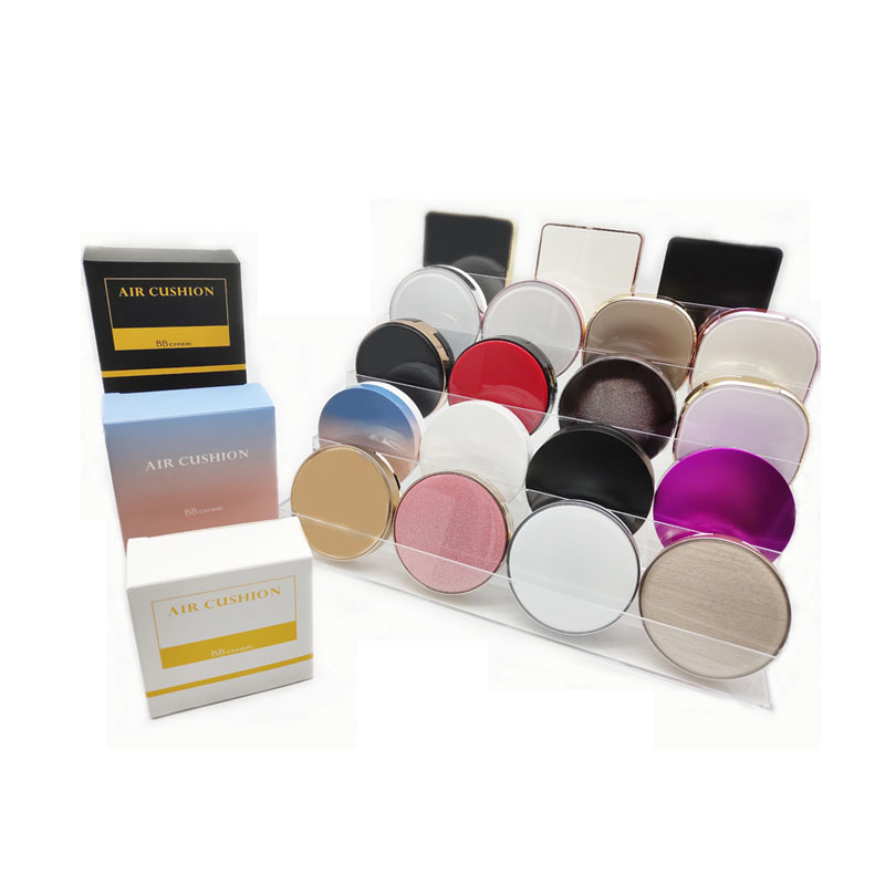 Free samples 15g round shape plastic silver luxury cosmetic BB cream / blusher / loose powder case / containers