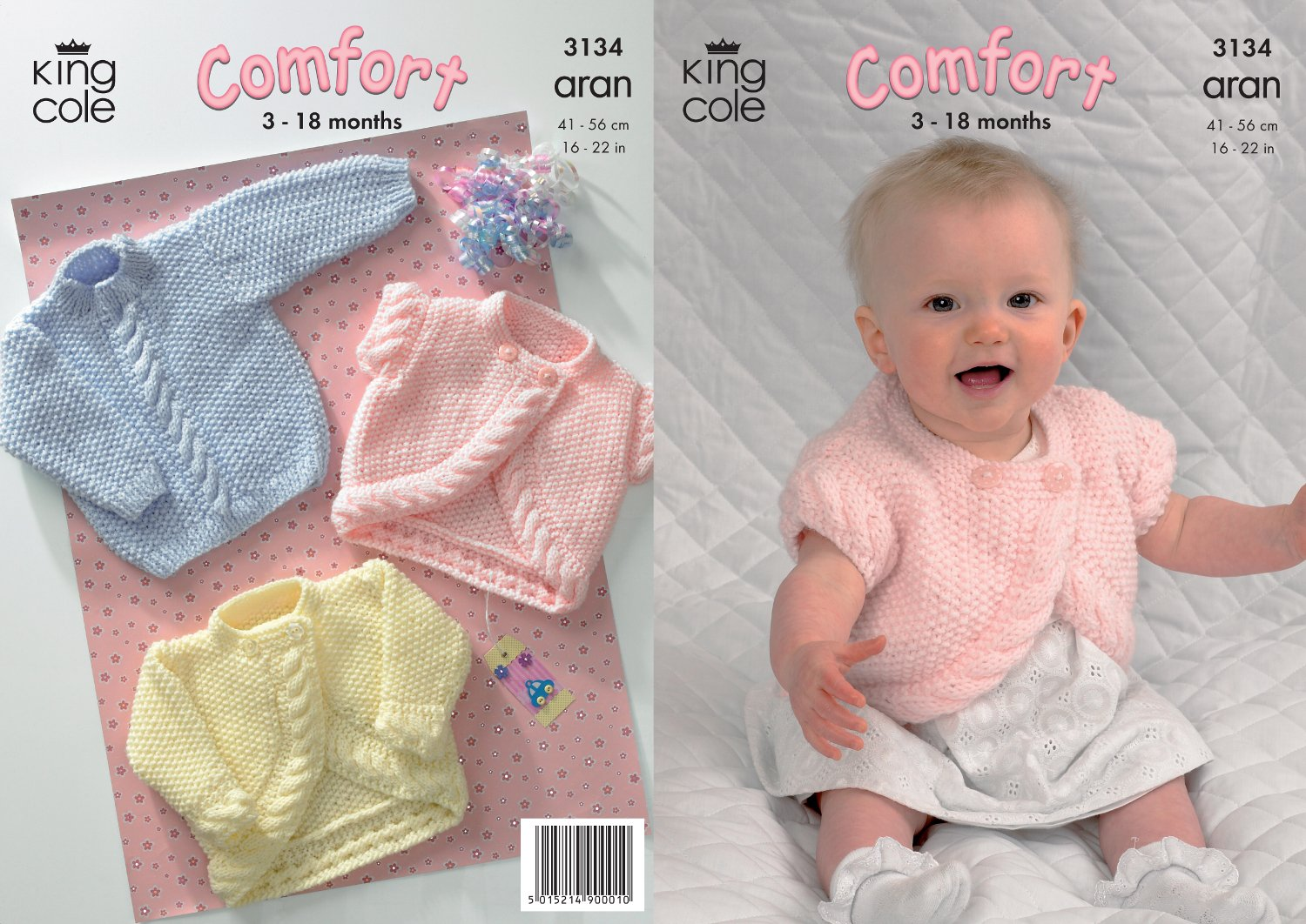 Get Quotations · King Cole Comfort Aran Knitting Pattern Babies Knitted  Jacket Bolero   Sweater 3134 9db529b63