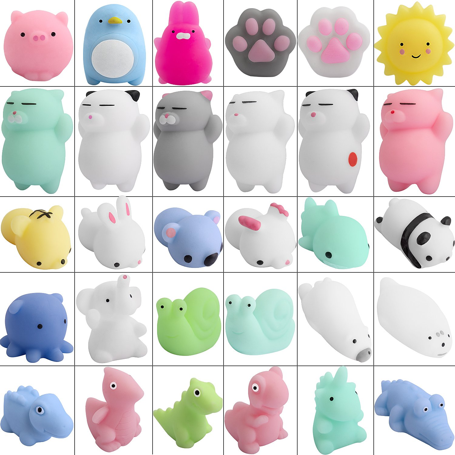 Mini Squishy Toys Mochi, Hicdaw 30 Pcs Mochi Squishy Squishies Mini Stress Cat Squishy Stress Squishies Kawaii Mochi Cat Animal Squishies Stress Relief Toys Squishy Cat Mochi Animals Squishy Soft