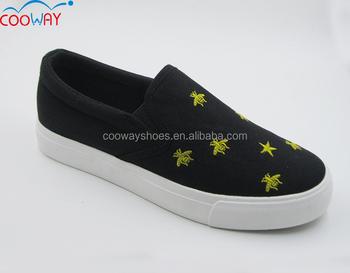 New Design Fancy Comfort Women Ladies Flat Fashion Canvas Shoes ...