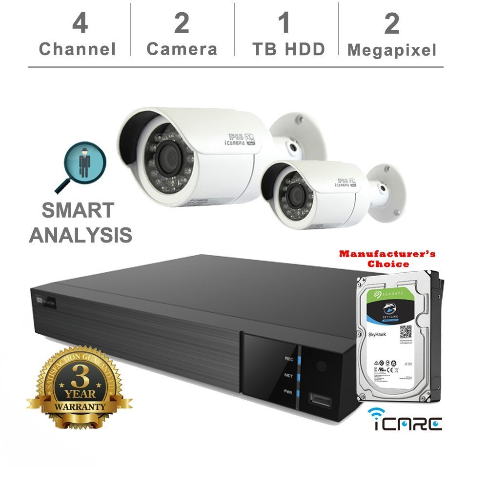 iCare-DVR Smart Analysis DVR Security Kits: 4CH 5 in 1 DVR w/1TB Security HDD+ (2) 2MP Outdoor IR White Bullet (3 Years Warranty; Local US Support)