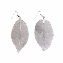 fashion fancy designs charming law clear crystal leaf hollow silver plated jewelry earrings