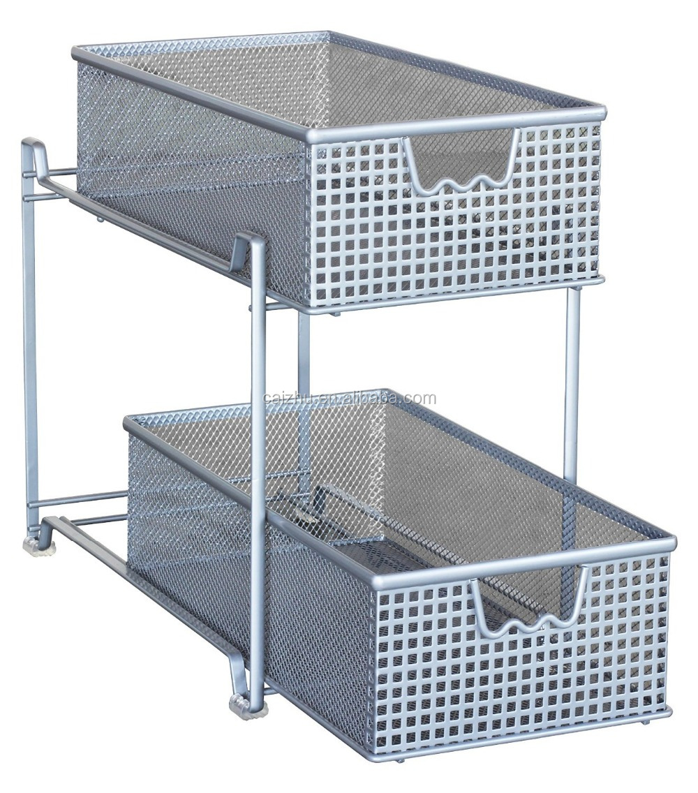 Uncategorized Sliding Basket Organizer two tier mesh sliding cabinet basket organizer drawer silver buy silver