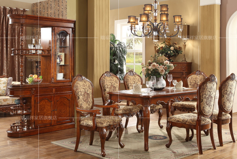 Federal Style Sectional Dining Table With Fabric Chairs For Dining ...
