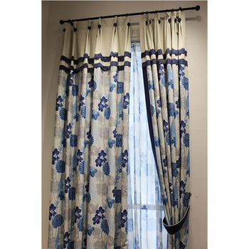 High End Brand Name Modern Style Leaf Pattern Coloful Jute Window Curtain