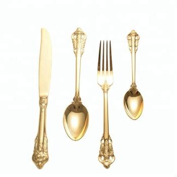 Embossed Wedding Gold Silverware