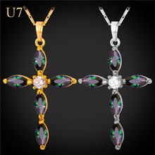 U7 Brand Luxury CZ Cross Necklace Pendant Women 18K Gold Plated Cubic Zirconia Charms Christian Jewelry P1956